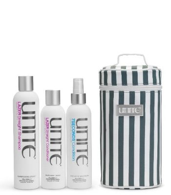 unite lazer straight shampoo conditioner gratis 7 seconds leave in etui